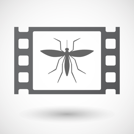 celluloid: Illustration of an isolated celluloid film frame icon with  a mosquito