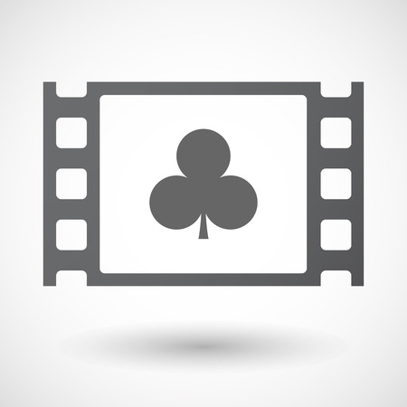 strip club: Illustration of an isolated celluloid film frame icon with  the  Club  poker playing card sign