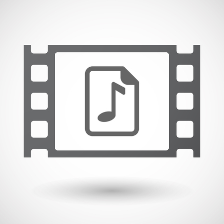 music score: Illustration of an isolated celluloid film frame icon with  a music score icon Illustration