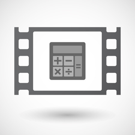 documentary: Illustration of an isolated celluloid film frame icon with  a calculator Illustration