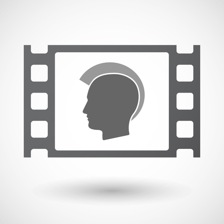 celluloid: Illustration of an isolated celluloid film frame icon with  a male punk head silhouette