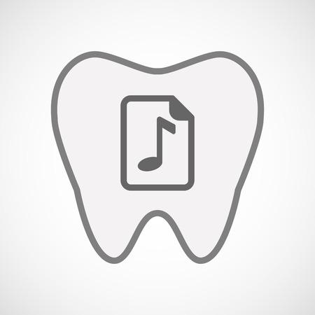 partition musique: Illustration d'un art de ligne dent icône isolé avec une icône de partition Illustration