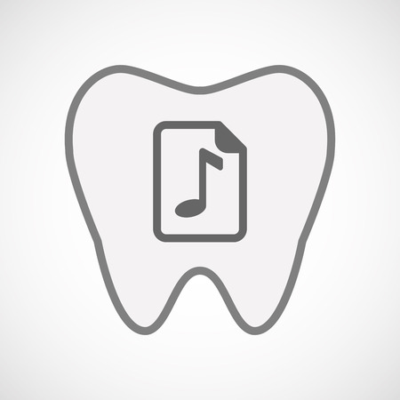 music score: Illustration of an isolated line art tooth icon with  a music score icon Illustration