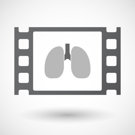 celluloid: Illustration of an isolated celluloid film frame icon with  a healthy human lung icon Illustration