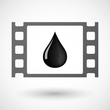 celluloid: Illustration of an isolated celluloid film frame icon with  an oil drop icon