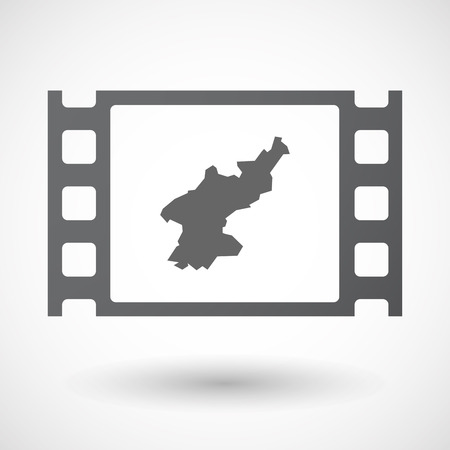 celluloid: Illustration of an isolated celluloid film frame icon with  the map of North Korea