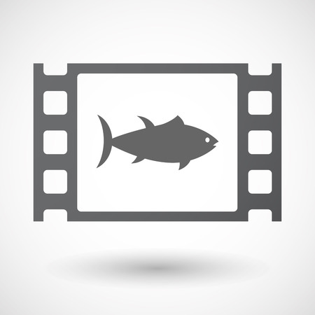 celluloid: Illustration of an isolated celluloid film frame icon with  a tuna fish