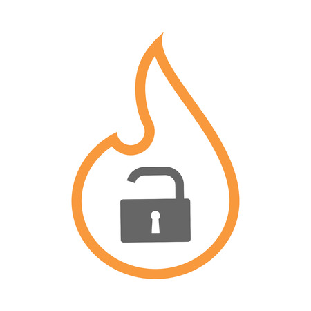 Illustration of an isolated line art flame icon with an open lock pad Illustration