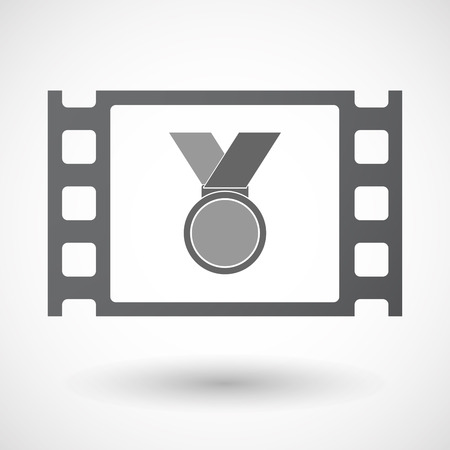 celluloid: Illustration of an isolated celluloid film frame icon with  a medal