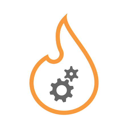 Illustration of an isolated line art flame icon with two gears