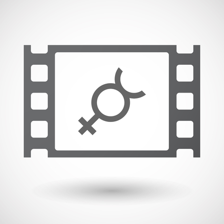 hermaphrodite: Illustration of an isolated celluloid film frame icon with  the mercury planet symbol Illustration