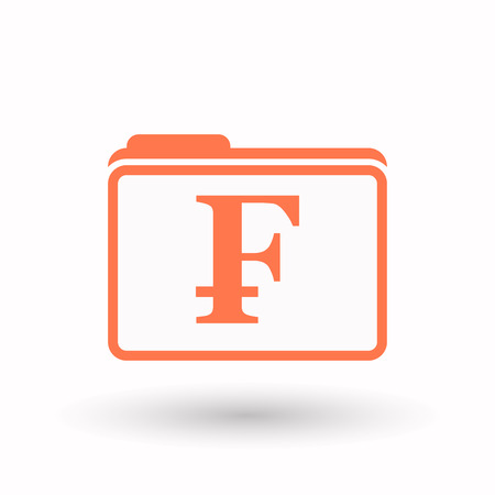 franc: Illustration of an isolated line art  folder icon with a swiss franc sign