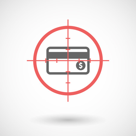 sniper crosshair: Illustration of an isolated  line art crosshair icon with  a credit card