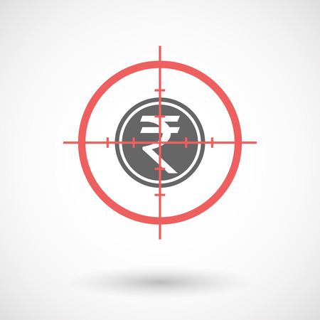 sniper crosshair: Illustration of an isolated  line art crosshair icon with  a rupee coin icon
