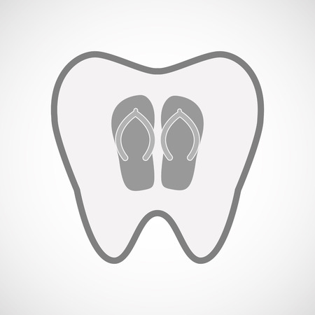 thongs: Illustration of an isolated line art tooth icon with   a pair of flops