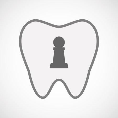 pawn: Illustration of an isolated line art tooth icon with a  pawn chess figure