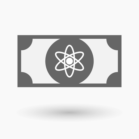 nuclear fusion: Illustration of an isolated bank note icon with an atom Illustration