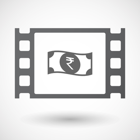 bank note: Illustration of an isolated celluloid film frame icon with  a rupee bank note icon