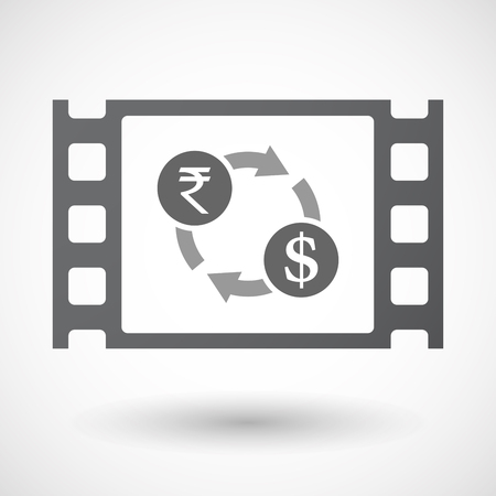 celluloid: Illustration of an isolated celluloid film frame icon with  a rupee and dollar exchange sign Illustration