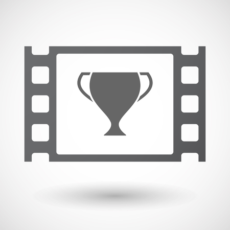 celluloid: Illustration of an isolated celluloid film frame icon with  an award cup