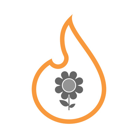 inferno: Illustration of an isolated line art flame icon with a flower Illustration