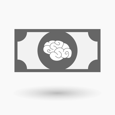 bank note: Illustration of an isolated bank note icon with a brain Illustration