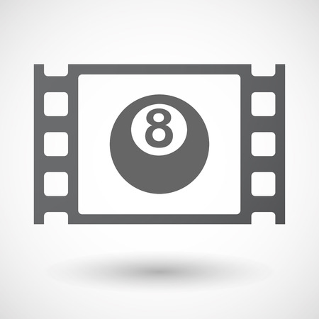 celluloid: Illustration of an isolated celluloid film frame icon with  a pool ball