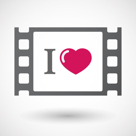celluloid: Illustration of an isolated celluloid film frame icon with  an  I like glyph Illustration