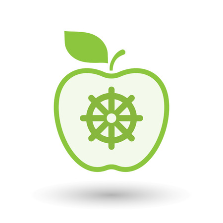 Illustration of an isolated  line art apple icon with a dharma chakra sign