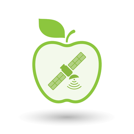 Illustration of an isolated  line art apple icon with a satellite