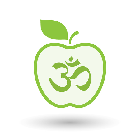 Illustration of an isolated  line art apple icon with an om sign