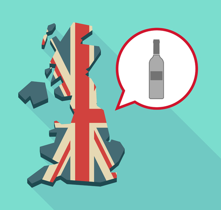 map wine: Illustration of a long shadow United Kingdom map with a comic balloon and a bottle of wine