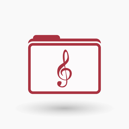 g clef: Illustration of an isolated  line art folder icon with a g clef