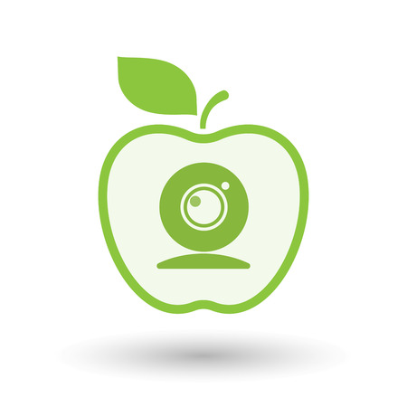 Illustration of an isolated  line art apple icon with a web cam