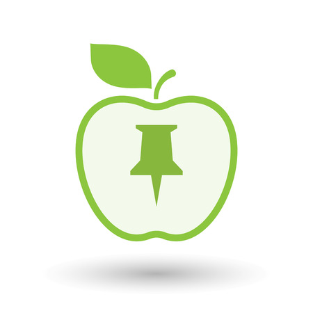 Illustration of an isolated  line art apple icon with a push pin