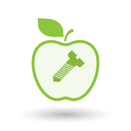 bolt head: Illustration of an isolated  line art apple icon with a screw Illustration