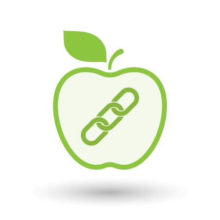 Illustration of an isolated  line art apple icon with a chain