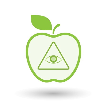 all seeing eye: Illustration of an isolated  line art apple icon with an all seeing eye