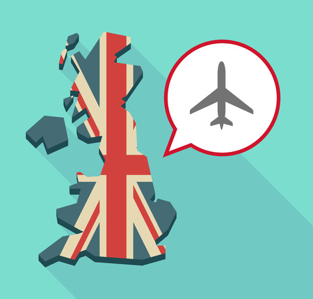 Illustration of a long shadow United Kingdom map with a comic balloon and a plane Illustration