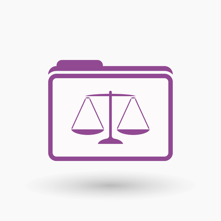 tribunal: Illustration of an isolated  line art folder icon with a justice weight scale sign
