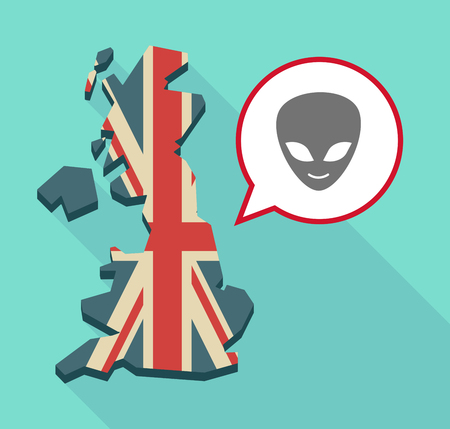 alien face: Illustration of a long shadow United Kingdom map with a comic balloon and an alien face