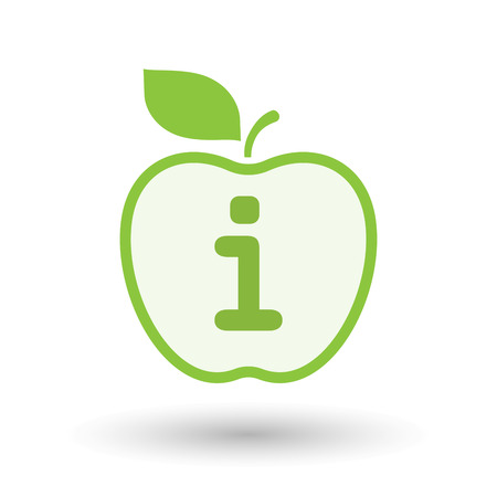 Illustration of an isolated  line art apple icon with an info sign