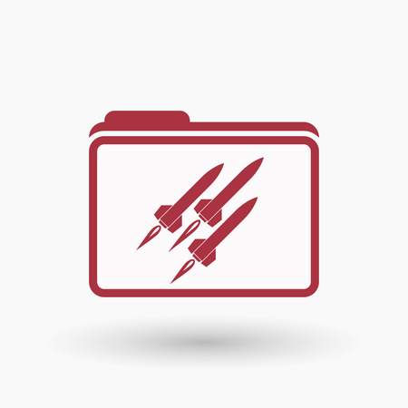 missiles: Illustration of an isolated  line art folder icon with missiles Illustration