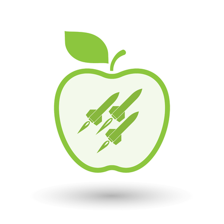 ballistic missile: Illustration of an isolated  line art apple icon with missiles