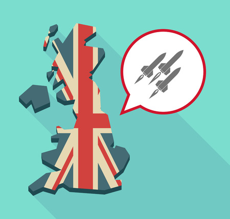 missiles: Illustration of a long shadow United Kingdom map with a comic balloon and missiles