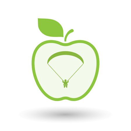 Illustration of an isolated  line art apple icon with a paraglider