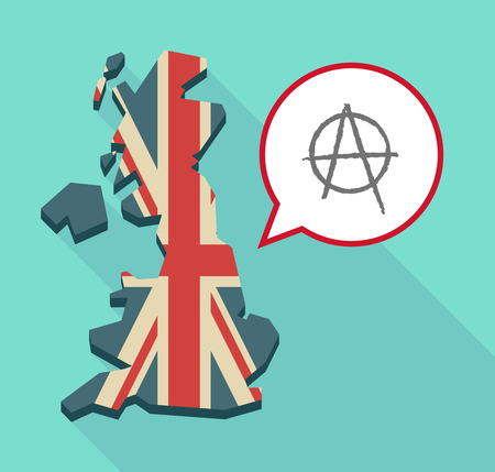 anarchy: Illustration of a long shadow United Kingdom map with a comic balloon and an anarchy sign