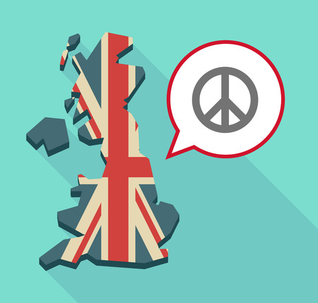 pacifist: Illustration of a long shadow United Kingdom map with a comic balloon and a peace sign
