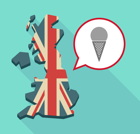 Illustration of a long shadow United Kingdom map with a comic balloon and a cone ice cream