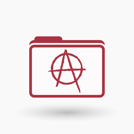 anarchy: Illustration of an isolated  line art folder icon with an anarchy sign